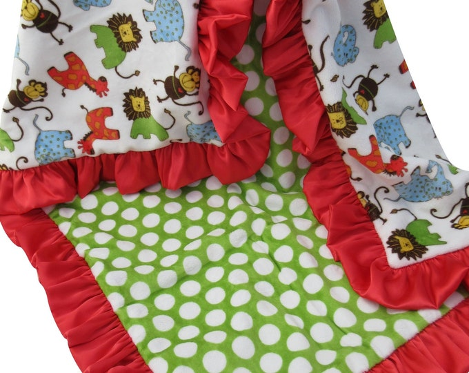 Minky Baby Blanket, Red and Green Mod Dots Jungle Blanket, Woodland Animals Blanket, Safari Theme, In Stock Ready to Ship