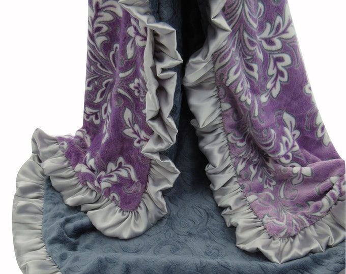 Purple Floral Madrid Baby Blanket, Purple Flower Baby Blanket in Stock Ready to Ship