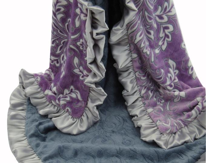 14 x 17 inch  Purple Floral Madrid Baby Luvy blanket, Purple Flower