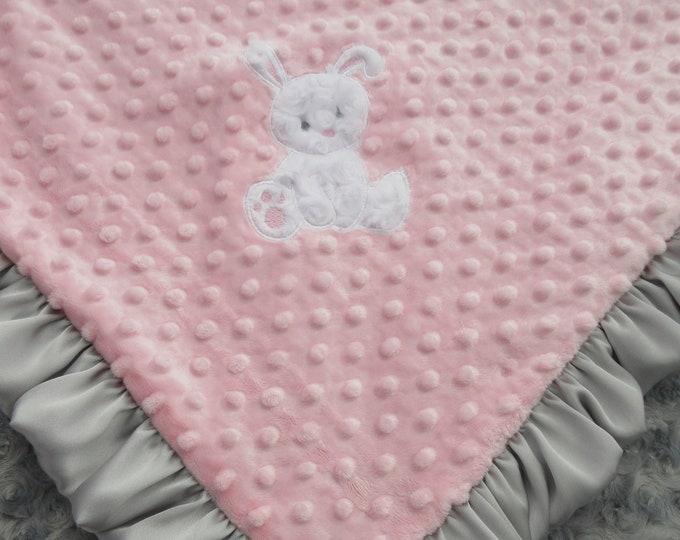 Applique Bunny Light Pink and Gray Rosebud Swirl Minky 32 x 38 inch Baby Girl Blanket