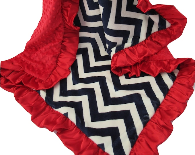 Navy Chevron and Red Minky Dot Baby Blanket for Boy or Girl