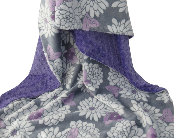 Mar Bella Purple Floral with Orchid Minky Dot, In Stock Ready to Ship