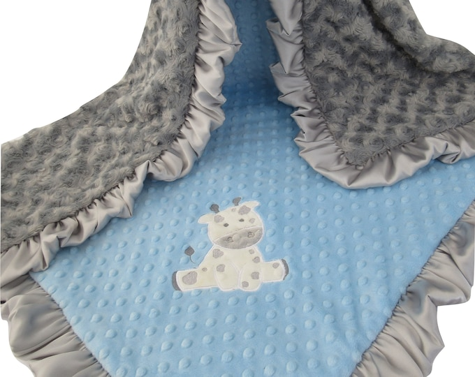 Gray and Blue Minky Baby Blanket for a Baby Boy, Silver Satin Ruffle Minky Blanket