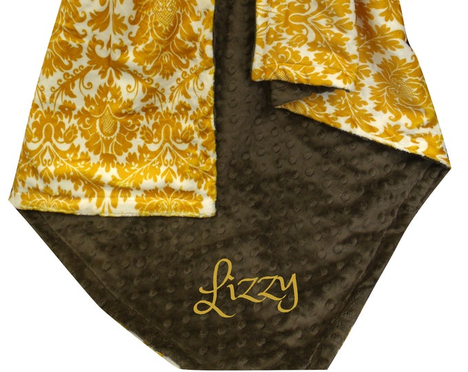 Brown and Gold Damask Monogrammed Minky Baby Blanket,