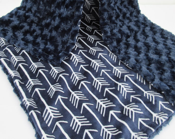 Navy and White Arrow Print Minky Blanket, Silver Gray dot and Navy Fletch Blanket,
