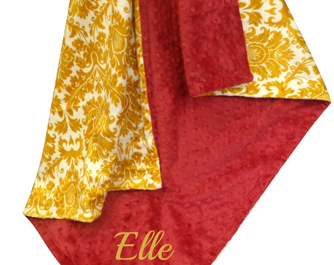 Red and Gold Damask Minky Baby Blanket