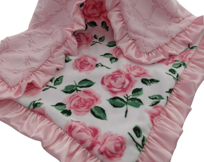 Pink Rose Floral Minky Baby Blanket With a Matching Pink Ruffle, In Stock Ready to Ship