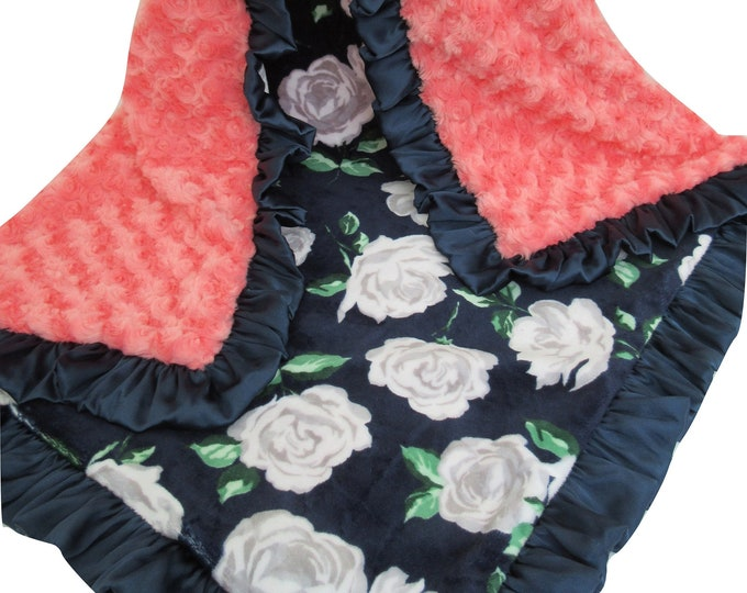 Coral and Navy Roses Minky Baby Blanket, for baby girl, toddler, or teen, Baby Girl Blanket