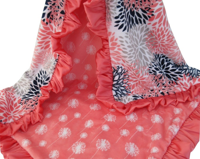 Coral Dandelion Blooms and Navy Minky Baby Blanket, for baby girl, toddler, or teen