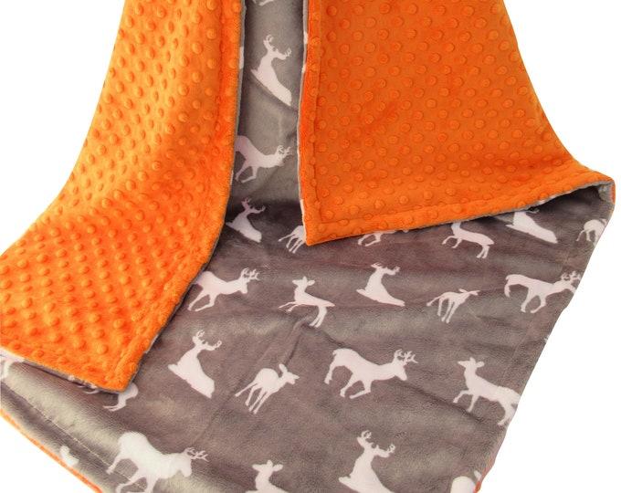 Orange and Gray Deer Head Minky Dot Baby Blanket, Camouflage Hunting Blanket