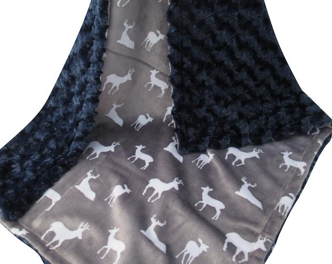Navy Rose Swirl and Silver Gray Deer Print Minky Blanket