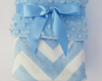 14 x 17 inch luvy size only  Soft Baby Blue Chevron Minky Baby Blanket Nautical Style