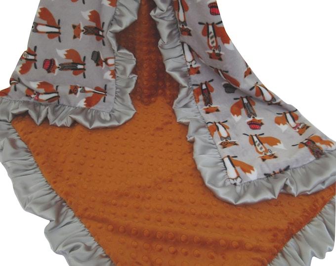 Fox Baby Blanket, Fox Minky Baby Blanket, Woodland Animal, Fox Theme Nursery, Orange Gray Blanket,