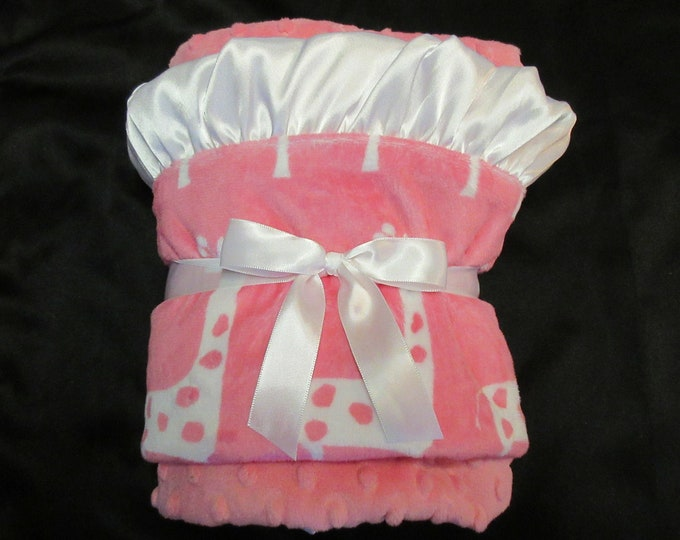 White and Pink Polka Dot Giraffe Minky Baby Blanket, Pink White Mod Dot Giraffe Blanket, Pink Giraffe Pink and White Blanket