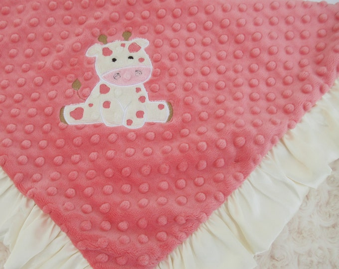 Applique Coral and Ivory Cream Rosebud Swirl Minky Minky Baby Blanket, Baby Girl Blanket