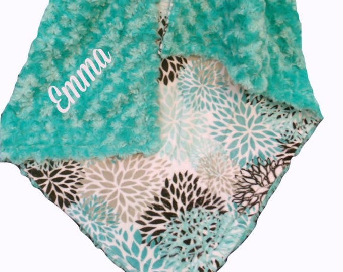 Personalized Embroidered Floral Breeze Teal Rosebud Swirl Minky Baby Blanket, Teal Swaddle Blanket, Embroidered Aqua and Gray Blanket