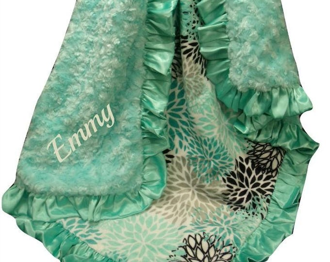 Personalized Teal and Saltwater Rosebud Swirl Floral Minky Baby Blanket, Satin Ruffle Minky Baby Blanket