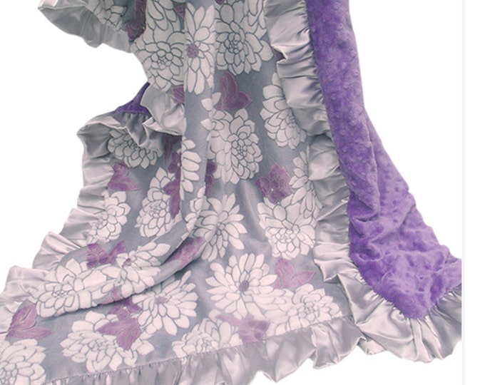Minky Baby Blanket, Purple Crib Blanket, Baby Girl Blanket, Baby Blanket, Floral Baby Blanket, Lavender Blanket, Baby Girl Blanket