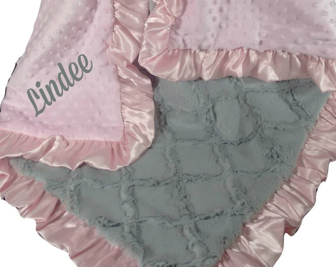 Pink Gray Blanket Minky Dot Personalized Baby Blanket