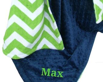 Navy Blue Minky Dot and Lime Green Chevron Minky Baby Blanket, three sizes