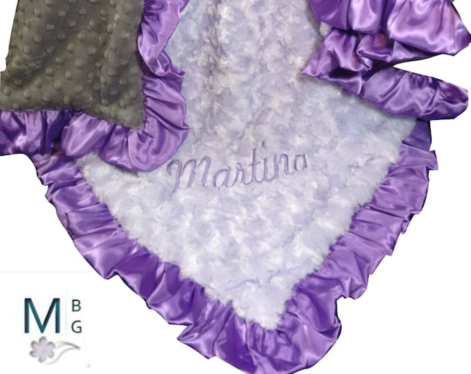 Purple and Gray Minky Baby Blanket, Rose Swirl and Satin Baby Blanket, three colors,