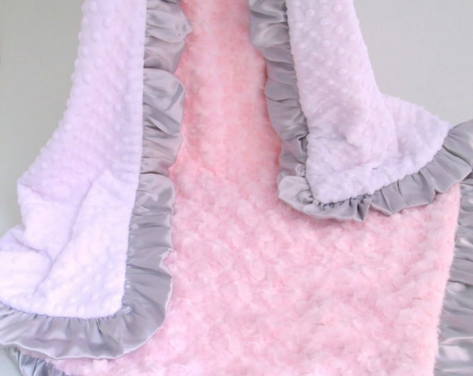 White Pink and Gray Minky Baby Blanket - Adult Blanket