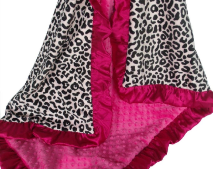Minky Baby Blanket in Black and Pink Leopard Animal Print - Pink and Black Minky Baby Blanket - FUCHSIA Satin Ruffle - in three sizes