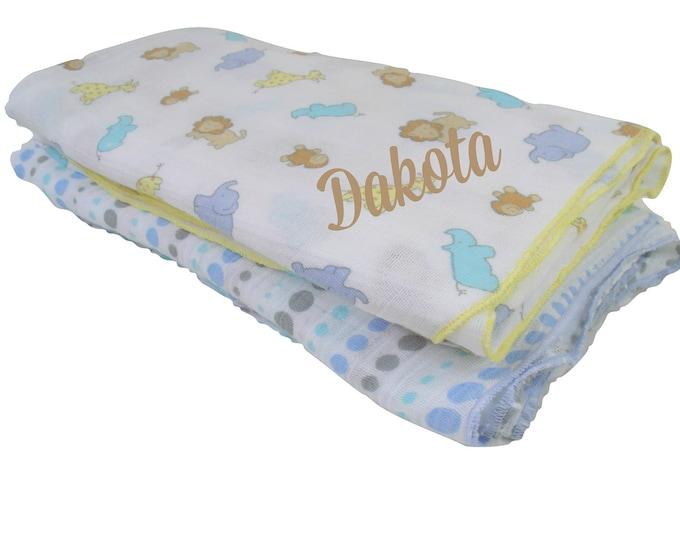 Woodland Animal Print Muslin Cotton Swaddle Blankets, Embroidered Lightweight Cotton Summer Baby Blanket