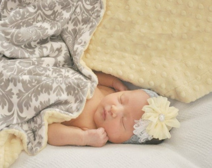 Light Yellow Minky Dot and Gray Damask Minky Baby Blanket, Gender Neutral Baby Blanket