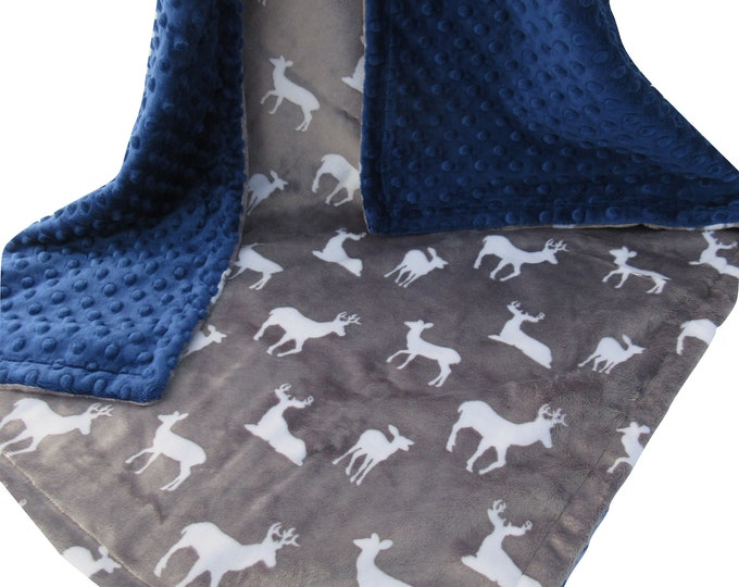Navy Minky Dot and Silver Gray Deer Print Minky Blanket