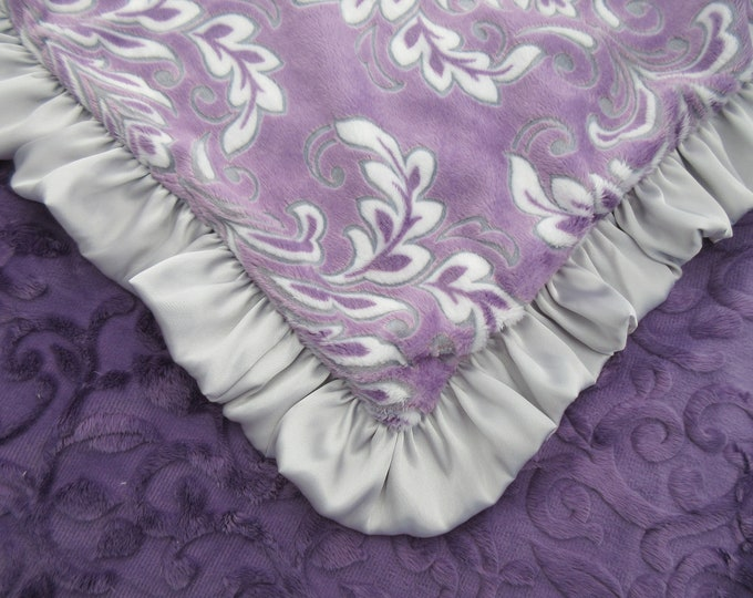 Purple Floral Madrid Baby Blanket with a Silver Gray Satin Ruffle, Purple Flower Baby Blanket in Stock Ready to Ship
