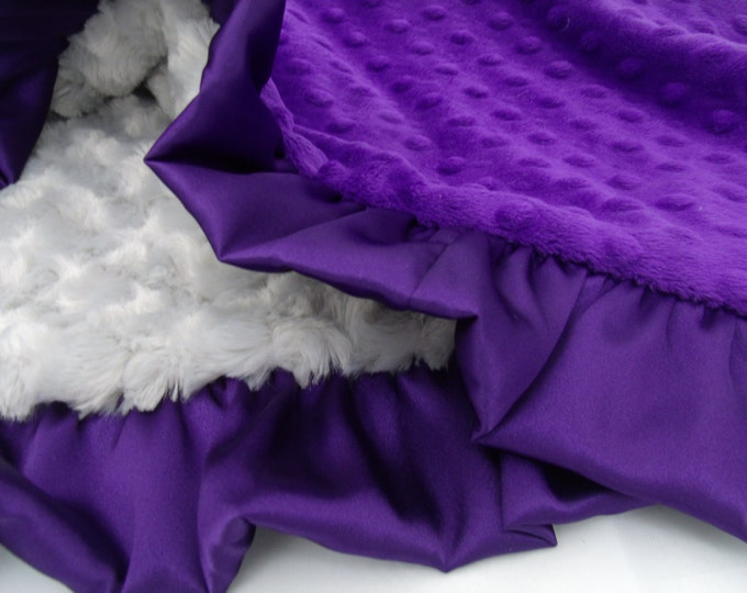 Deep Purple and Gray Minky Dot Baby Blanket