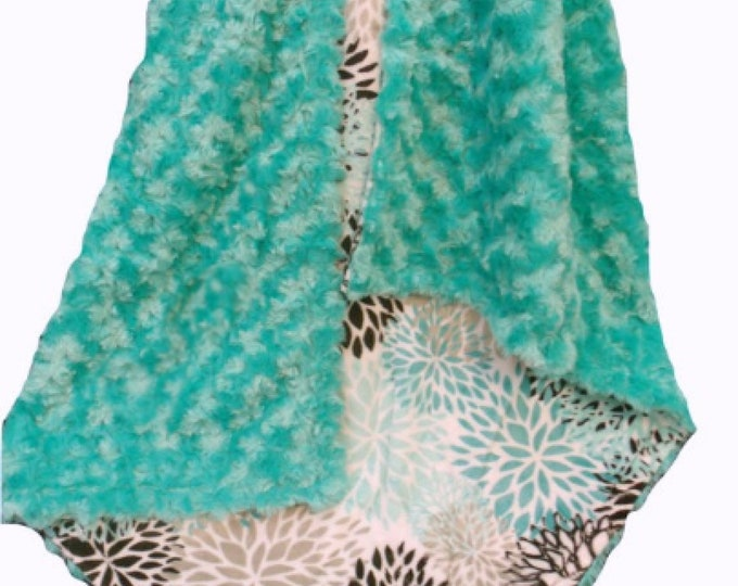 Floral Breeze Teal Rosebud Swirl Minky Baby Blanket, Teal Swaddle Blanket, Aqua and Gray Blanket