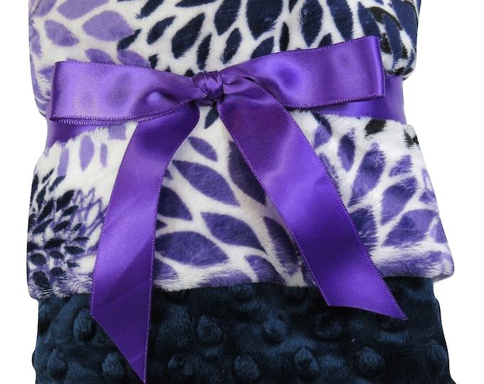 Purple Floral Minky Baby Blanket, Violet Orchid Swaddle Blanket, Baby Girl Blanket