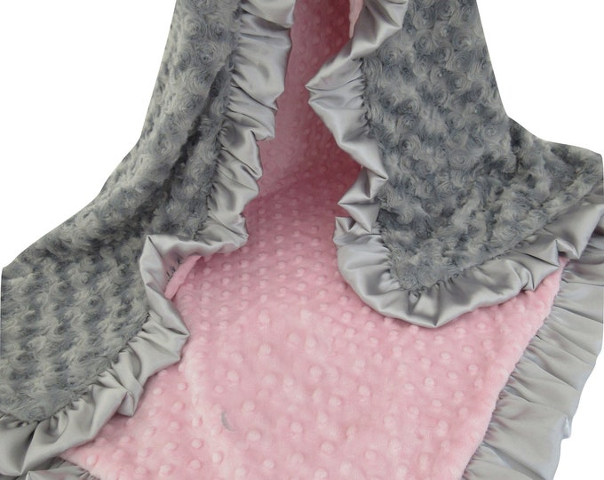 Pink and Gray Rosebud Swirl Minky Minky Baby Blanket, Baby Girl Blanket