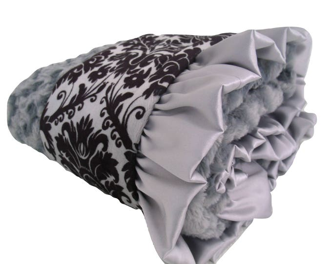 Minky Baby Blanket Black and Gray Damask Unisex Baby Gift, Baby Girl Blanket