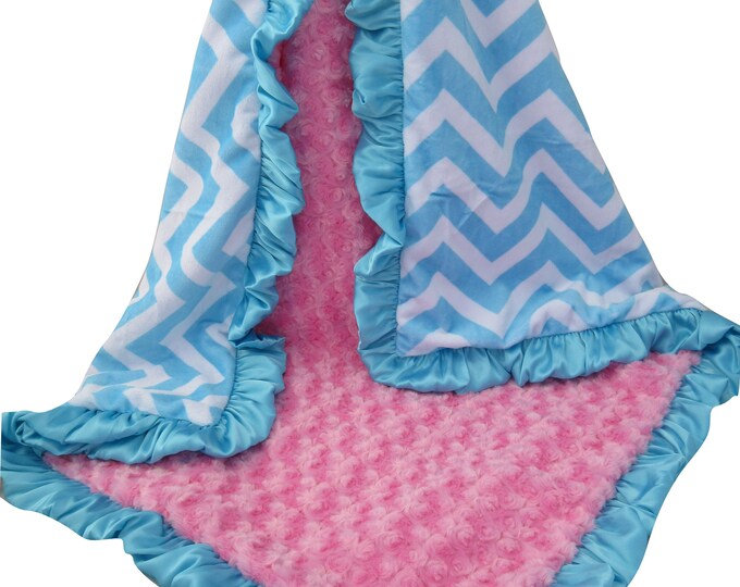 Hot Pink and Aqua Chevron Minky Dot Blanket, Pink Rose Swirl Blanket, In Stock Ready to Ship