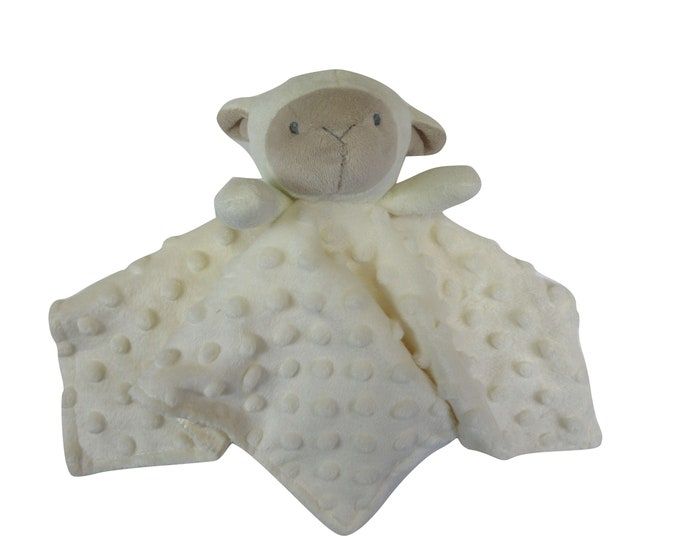 Creamy Ivory Lamb Security Blanket Embroidery Blank