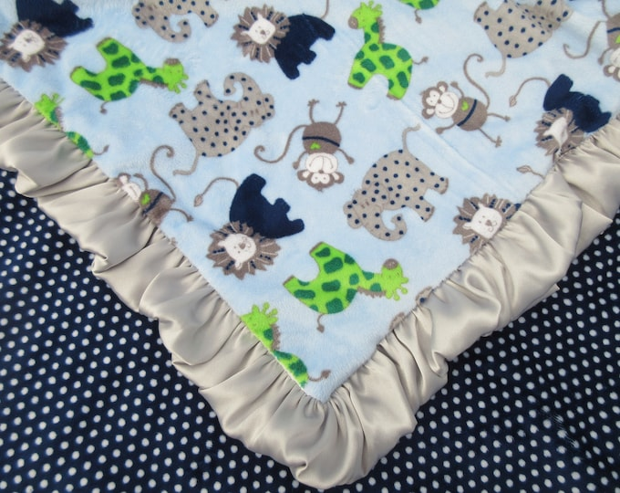 Navy Swiss Dot Jungle Animal Minky Baby Blanket, Woodland Critters Minky Baby Blanket, In Stock, Ready to Ship 02