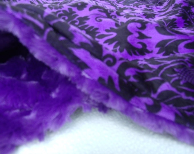 Purple and Black Damask Minky Baby Blanket, Purple Rose Swirl and Black Damask Minky Blanket for baby girl - three sizes available
