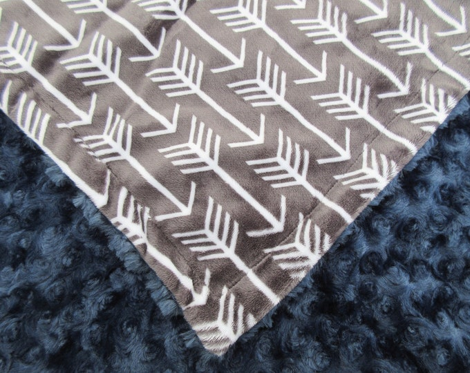 Dark Ash Charcoal and Navy Rose Swirl Arrow Baby Blanket, In Stock Ready to Ship
