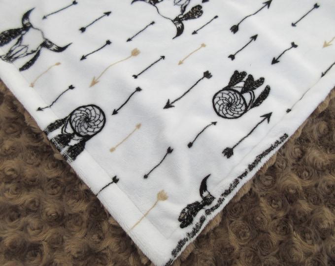Dreamcatcher Minky Baby Blanket, In Stock Ready to Ship