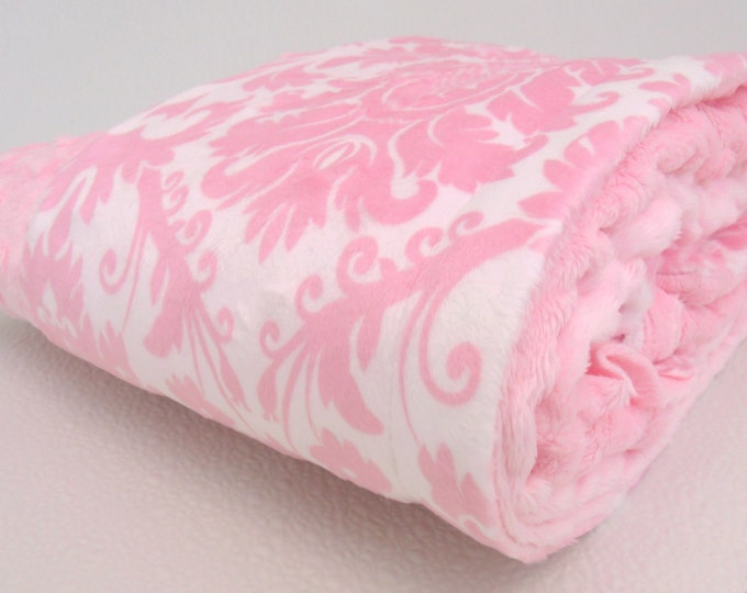 Pink Damask Minky Baby Blanket, also available in teen or atdult sizes, Baby Girl Blanket
