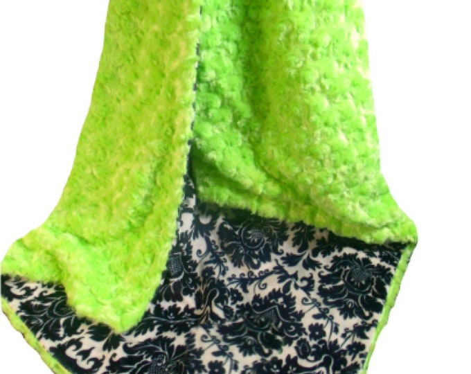 Green and Black Damask Minky Baby Blanket, Kiwi Rose Swirl Baby Blanket, Black and Lime Minky Blanket, Lime Minky Dimple Dot