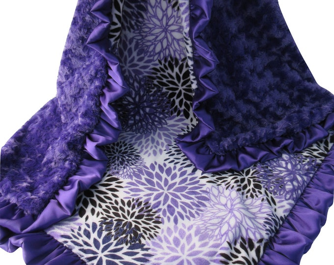 Purple Floral Rose Swirl Baby Blanket, Purple Flowers, Ready to Ship, 144#