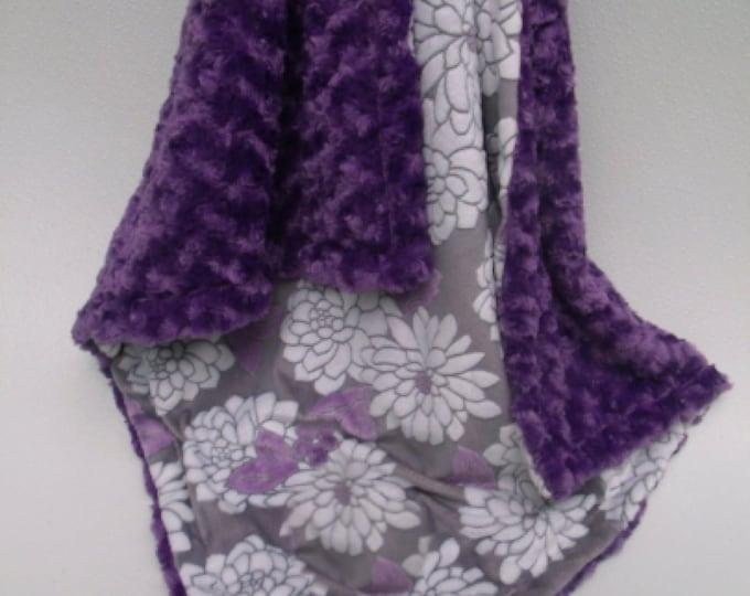 Minky Baby Blanket Purple Floral and Rose Swirl Minky