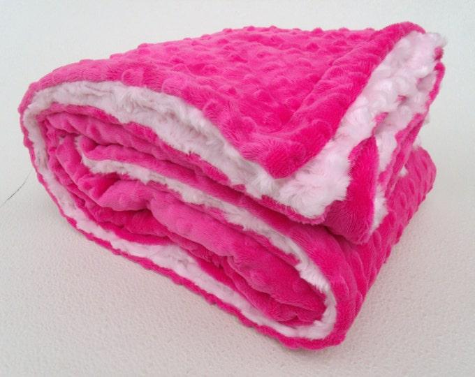 Fuchsia Hot Pink Dot and Light Pink Swirl Minky Baby Blanket