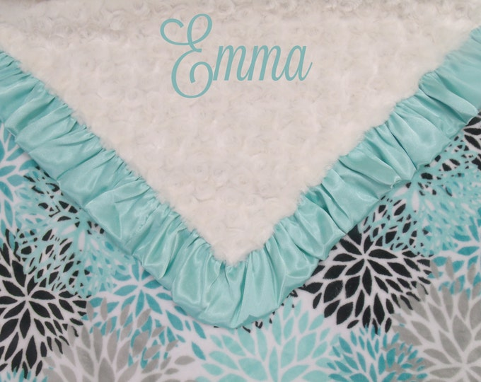 Personalized Breeze Teal and Cream Rosebud Swirl Floral Minky Baby Blanket,