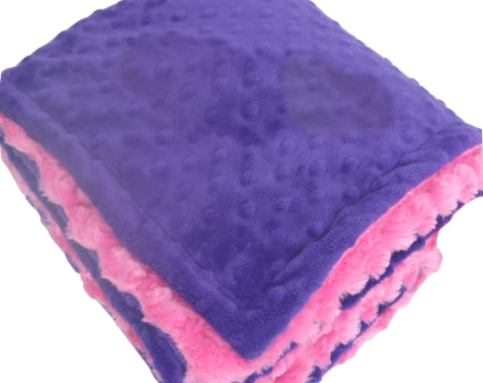 Deep Purple and Fuchsia Pink Minky Baby Blanket - for girl