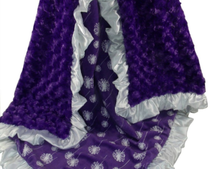 Purple Rose Swirl with Purple Dandelion Print Minky Baby Blanket, Rose Swirl and Minky Dot Baby Blanket available in three sizes